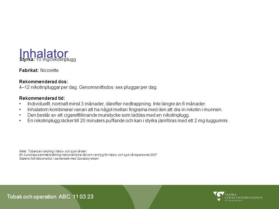 Tobak och operation ABC 11 03 23 Inhalator Styrka: 10 mg/nikotinplugg Fabrikat: Nicorette Rekommenderad dos: 4–12 nikotinpluggar per dag.
