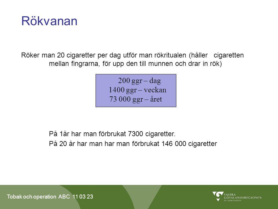 Tobak och operation ABC 11 03 23 Rökvanan Röker man 20 cigaretter per dag utför man rökritualen (håller cigaretten mellan fingrarna, för upp den till munnen och drar in rök) På 1år har man förbrukat 7300 cigaretter.