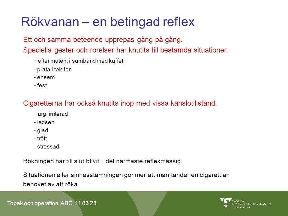 Tobak och operation ABC 11 03 23 Rökvanan – en betingad reflex Ett och samma beteende upprepas gång på gång.