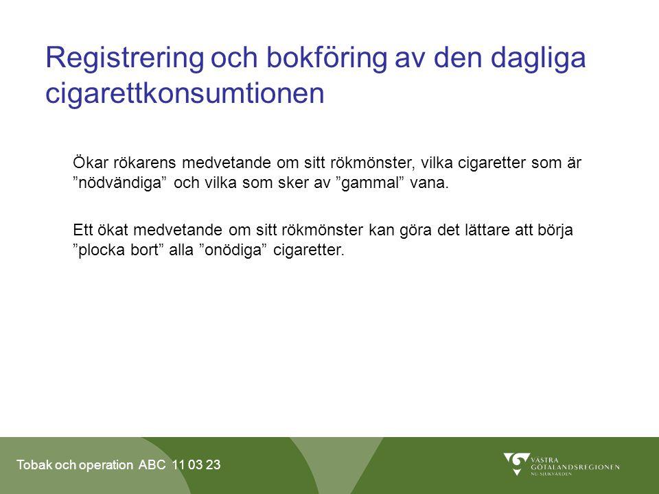 Tobak och operation ABC 11 03 23 Registrering och bokföring av den dagliga cigarettkonsumtionen Ökar rökarens medvetande om sitt rökmönster, vilka cigaretter som är nödvändiga och vilka som sker av gammal vana.