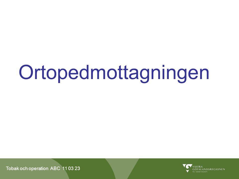 Tobak och operation ABC 11 03 23 Ortopedmottagningen