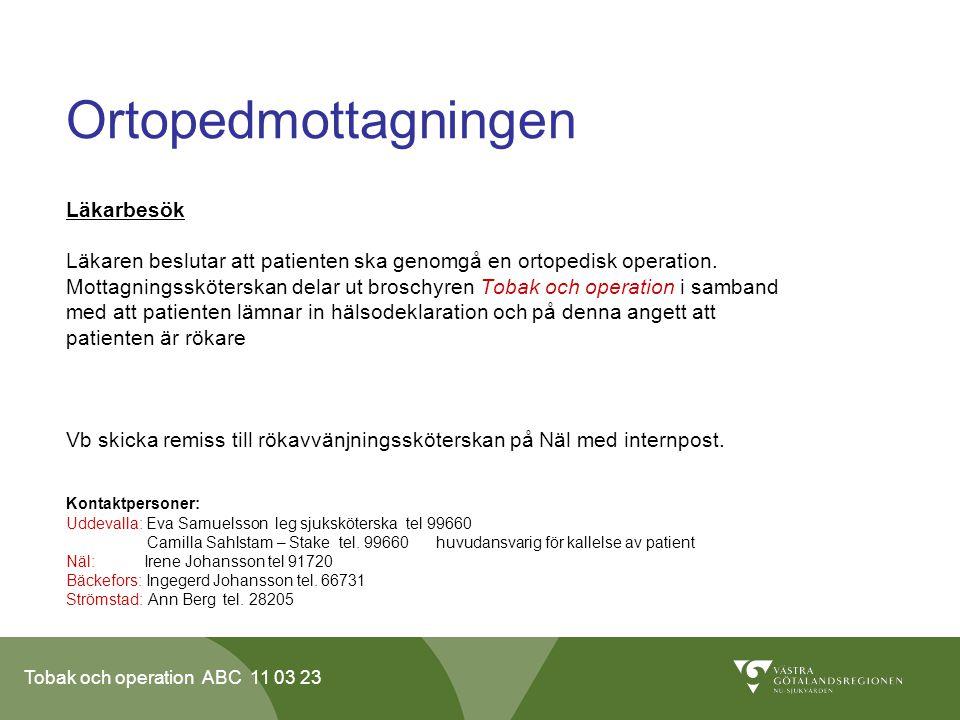 Tobak och operation ABC 11 03 23 Ortopedmottagningen Läkarbesök Läkaren beslutar att patienten ska genomgå en ortopedisk operation.