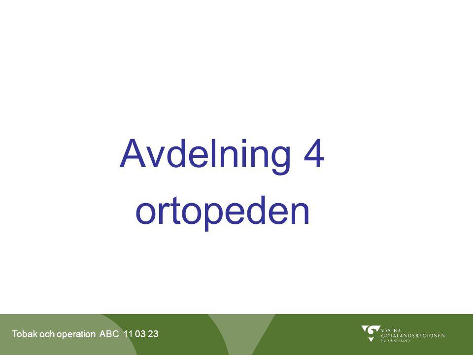 Tobak och operation ABC 11 03 23 Avdelning 4 ortopeden