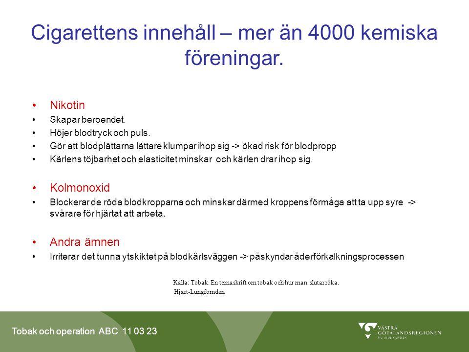Tobak och operation ABC 11 03 23 Cigarettens innehåll – mer än 4000 kemiska föreningar.