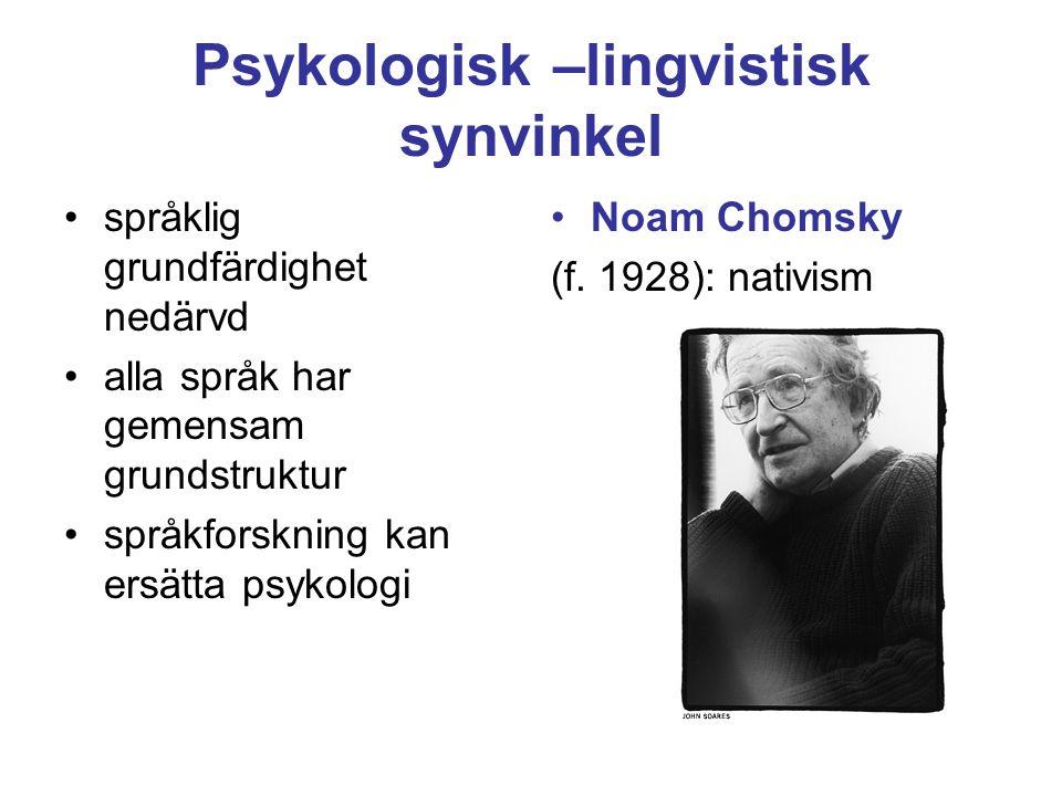 Psykologisk –lingvistisk synvinkel språklig grundfärdighet nedärvd alla språk har gemensam grundstruktur språkforskning kan ersätta psykologi Noam Chomsky (f.