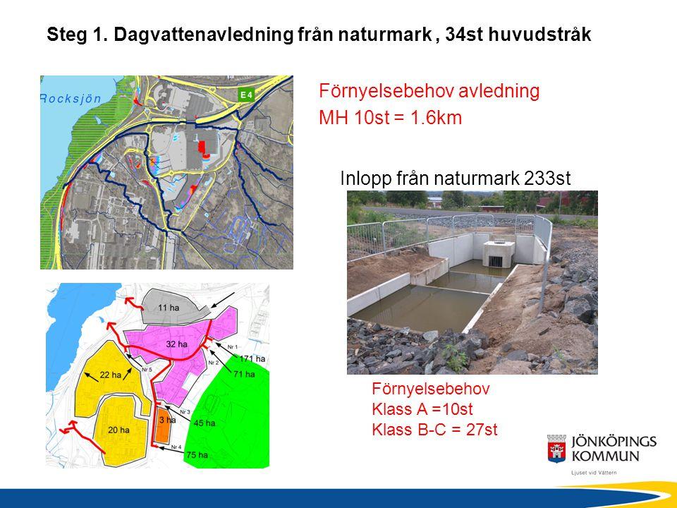 Steg 1. Dagvattenavledning från naturmark, 34st huvudstråk Förnyelsebehov Klass A =10st Klass B-C = 27st Förnyelsebehov avledning MH 10st = 1.6km Inlo