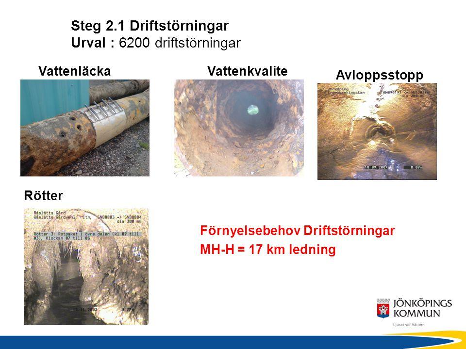 Steg 2.1 Driftstörningar Urval : 6200 driftstörningar VattenläckaVattenkvalite Avloppsstopp Förnyelsebehov Driftstörningar MH-H = 17 km ledning Rötter