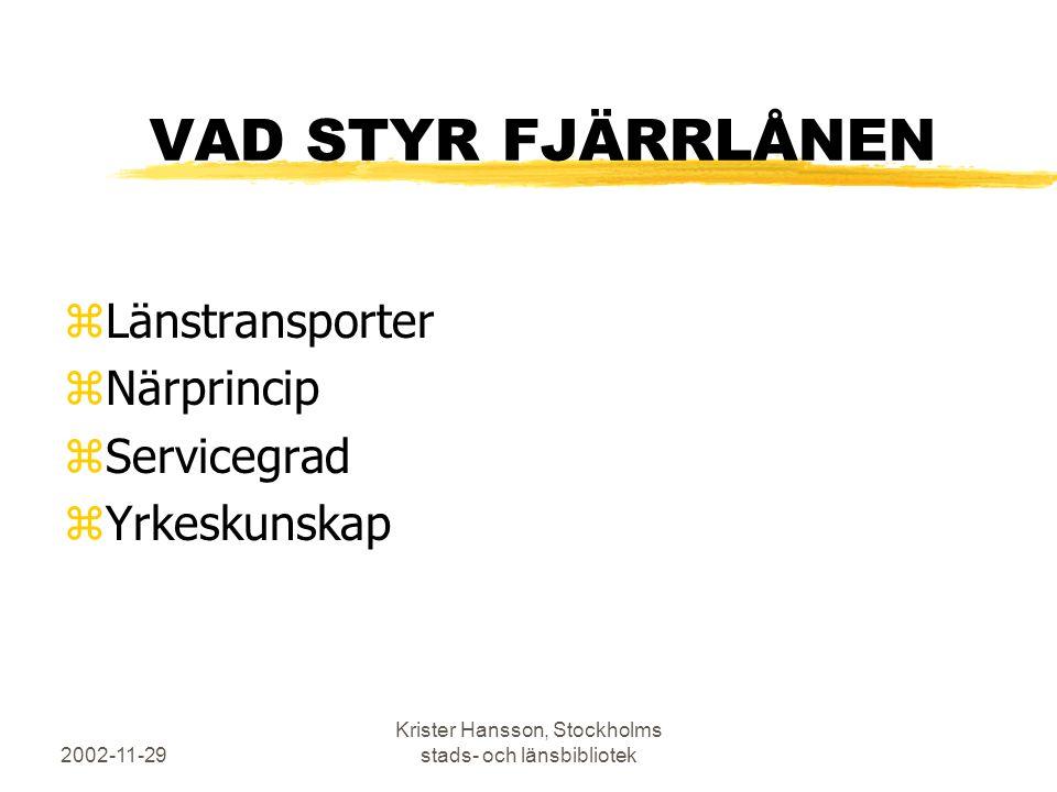 2002-11-29 Krister Hansson, Stockholms stads- och länsbibliotek VAD STYR FJÄRRLÅNEN zLänstransporter zNärprincip zServicegrad zYrkeskunskap