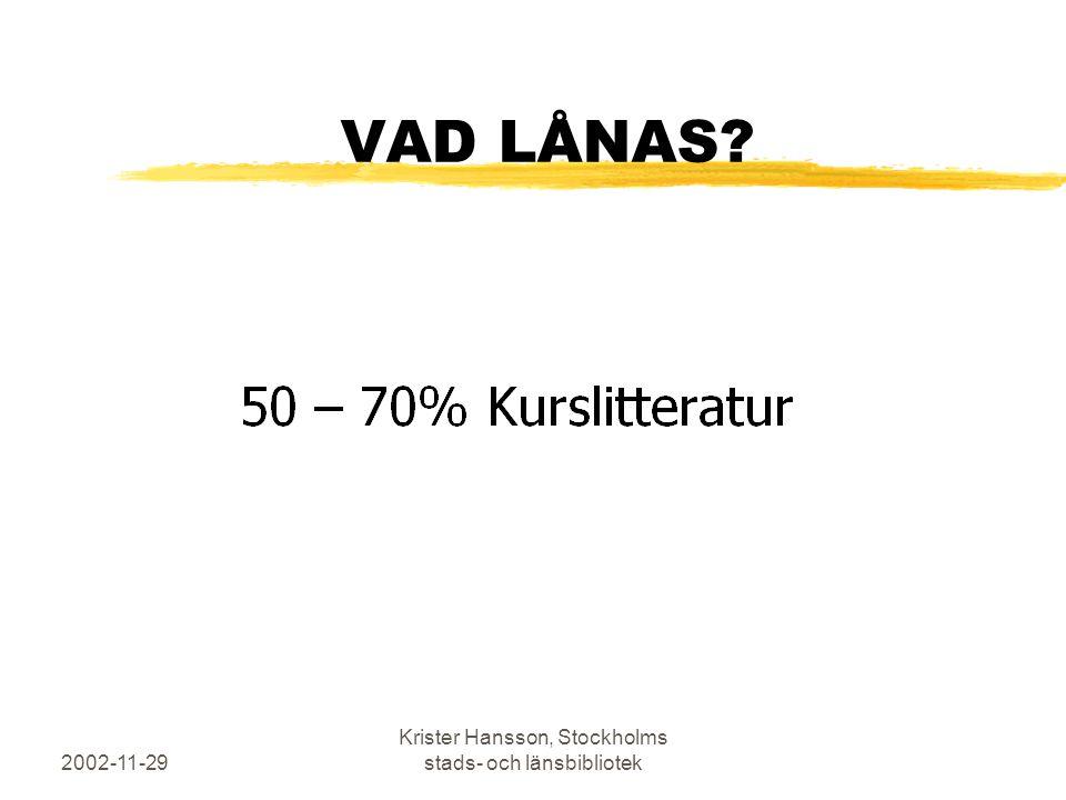 2002-11-29 Krister Hansson, Stockholms stads- och länsbibliotek VAD LÅNAS