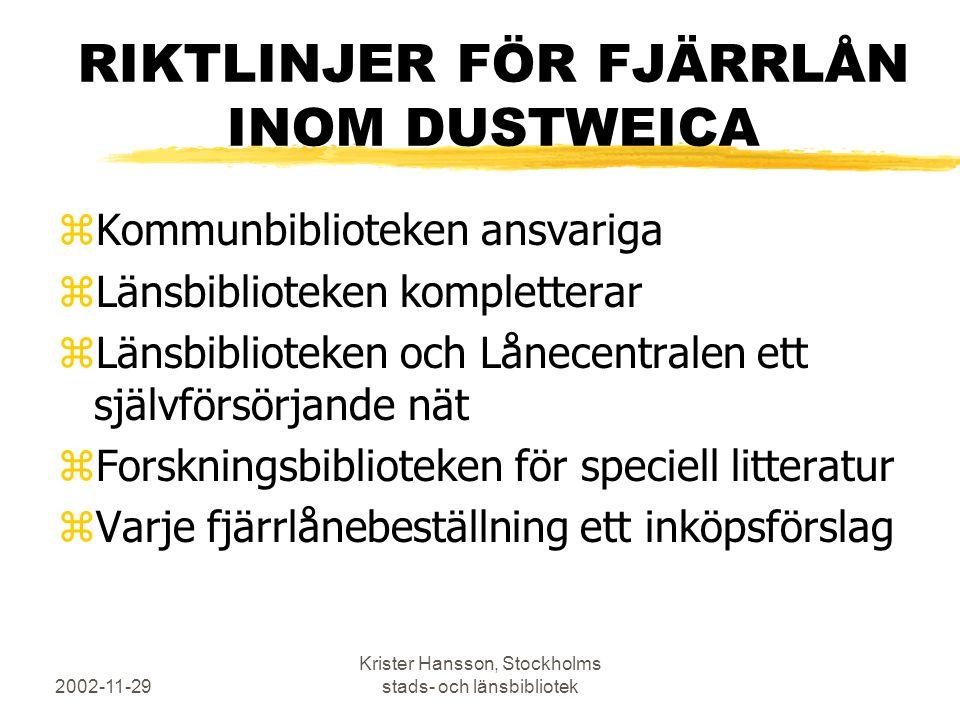 2002-11-29 Krister Hansson, Stockholms stads- och länsbibliotek RIKTLINJER FÖR FJÄRRLÅN INOM DUSTWEICA zKommunbiblioteken ansvariga zLänsbiblioteken k
