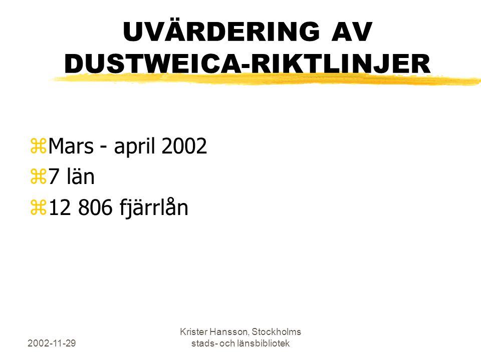 2002-11-29 Krister Hansson, Stockholms stads- och länsbibliotek UVÄRDERING AV DUSTWEICA-RIKTLINJER zMars - april 2002 z7 län z12 806 fjärrlån