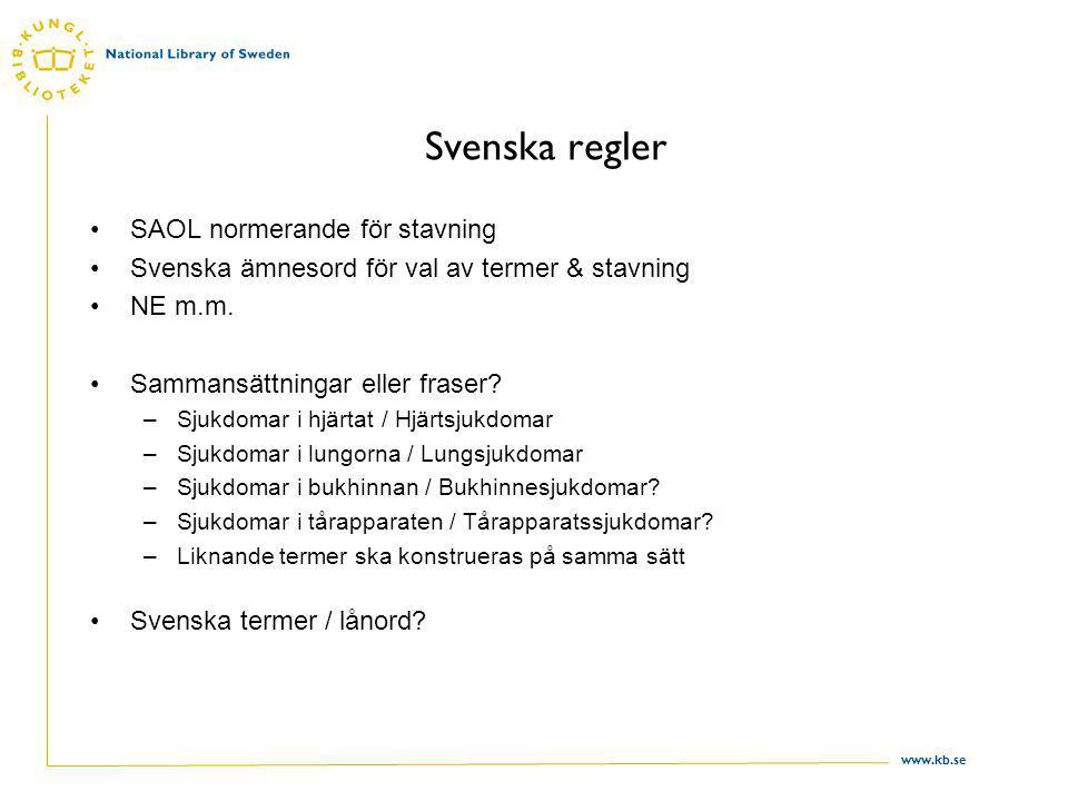 www.kb.se Svenska regler SAOL normerande för stavning Svenska ämnesord för val av termer & stavning NE m.m.