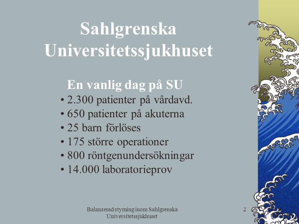 Balanserad styrning inom Sahlgrenska Universitetssjukhuset 2 Sahlgrenska Universitetssjukhuset En vanlig dag på SU 2.300 patienter på vårdavd. 650 pat