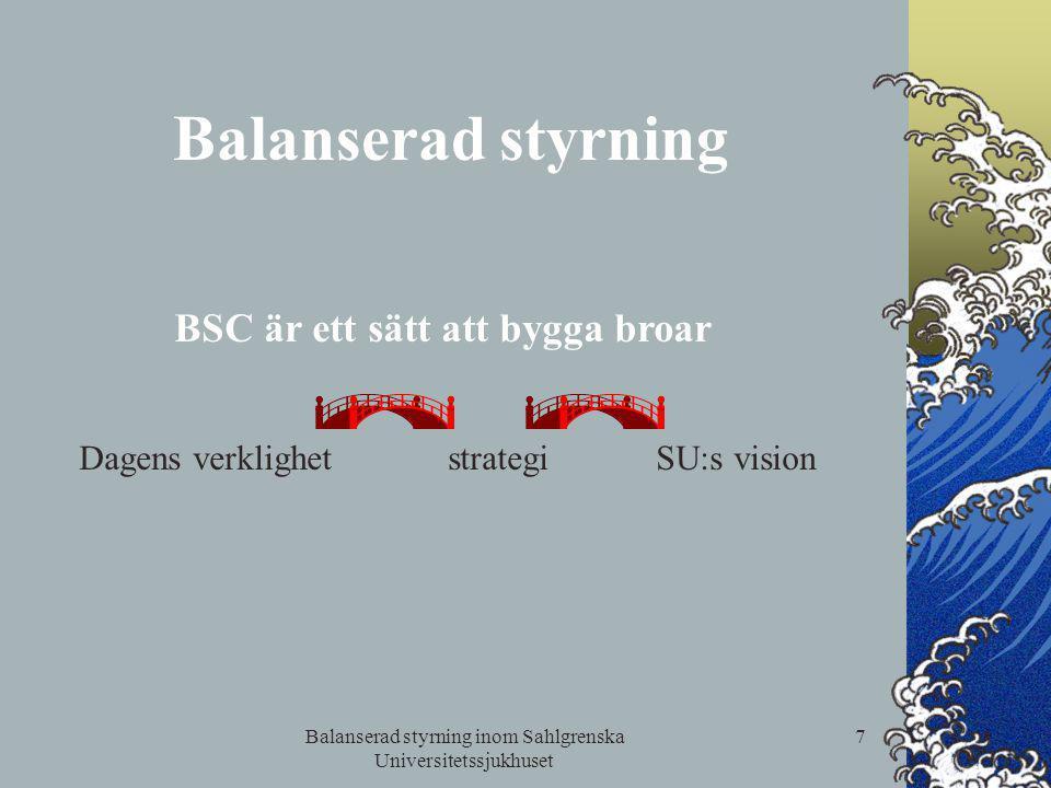Balanserad styrning inom Sahlgrenska Universitetssjukhuset 7 Balanserad styrning BSC är ett sätt att bygga broar Dagens verklighet strategi SU:s visio