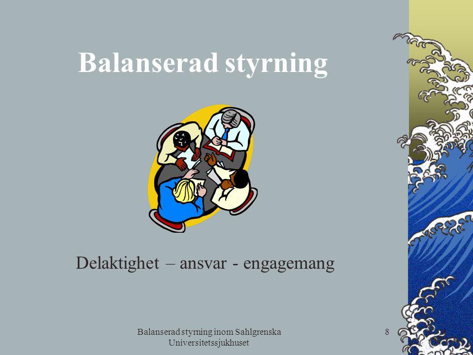 Balanserad styrning inom Sahlgrenska Universitetssjukhuset 8 Balanserad styrning Delaktighet – ansvar - engagemang