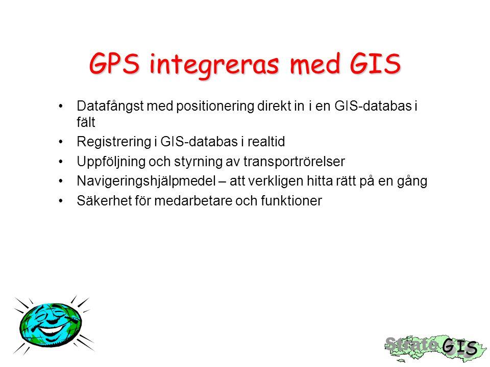 GPS integreras med GIS Datafångst med positionering direkt in i en GIS-databas i fält Registrering i GIS-databas i realtid Uppföljning och styrning av transportrörelser Navigeringshjälpmedel – att verkligen hitta rätt på en gång Säkerhet för medarbetare och funktioner