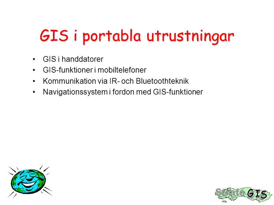 GIS i portabla utrustningar GIS i handdatorer GIS-funktioner i mobiltelefoner Kommunikation via IR- och Bluetoothteknik Navigationssystem i fordon med