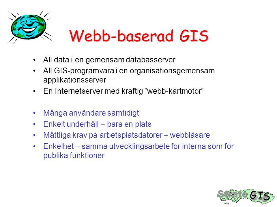 Webb-baserad GIS All data i en gemensam databasserver All GIS-programvara i en organisationsgemensam applikationsserver En Internetserver med kraftig webb-kartmotor Många användare samtidigt Enkelt underhåll – bara en plats Måttliga krav på arbetsplatsdatorer – webbläsare Enkelhet – samma utvecklingsarbete för interna som för publika funktioner