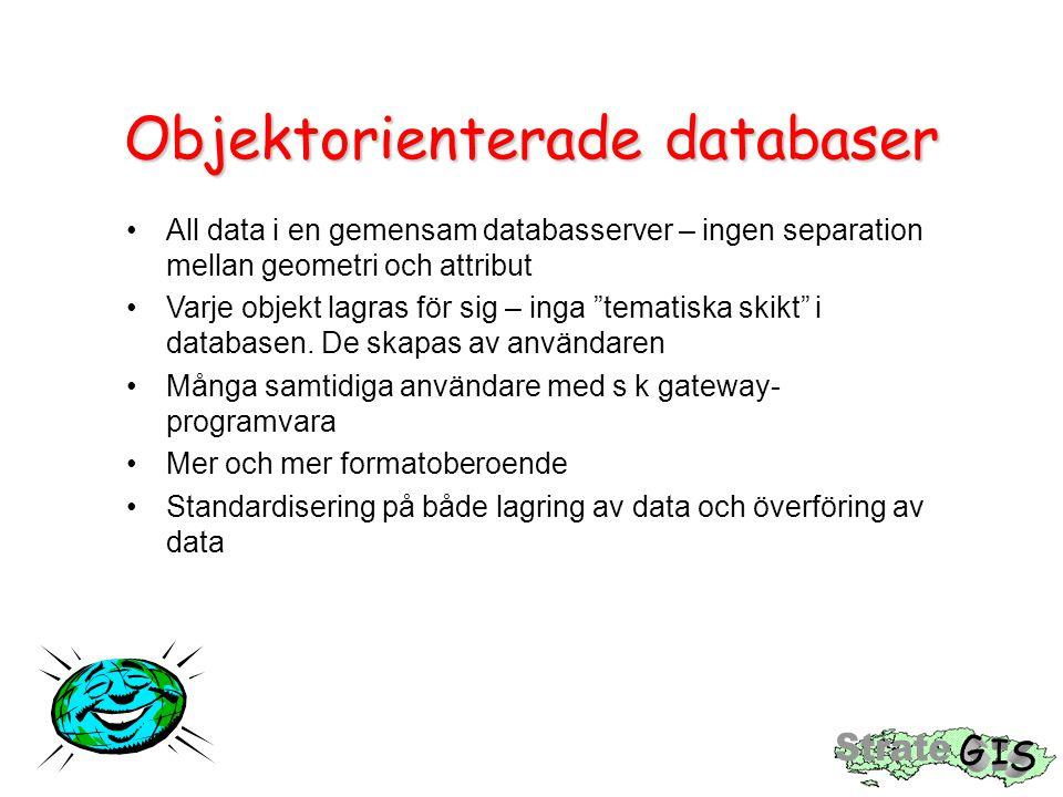 Objektorienterade databaser All data i en gemensam databasserver – ingen separation mellan geometri och attribut Varje objekt lagras för sig – inga tematiska skikt i databasen.