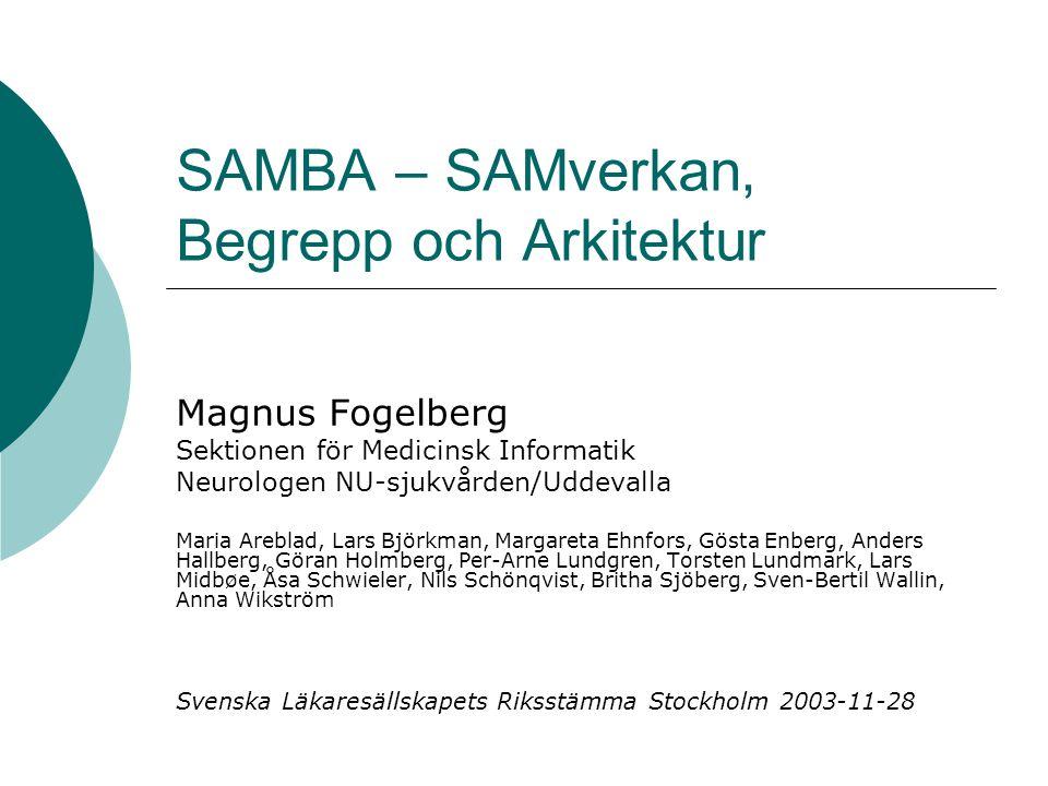 SAMBA – SAMverkan, Begrepp och Arkitektur Magnus Fogelberg Sektionen för Medicinsk Informatik Neurologen NU-sjukvården/Uddevalla Maria Areblad, Lars B