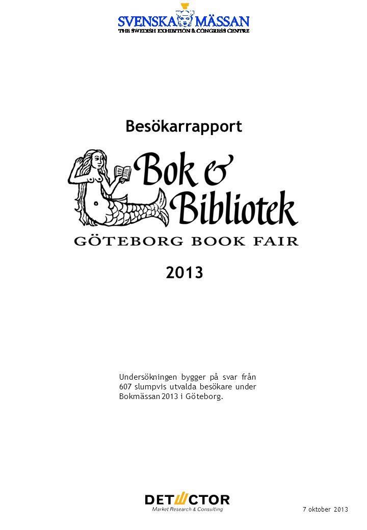 Besökarrapport 7 oktober 2013 Undersökningen bygger på svar från 607 slumpvis utvalda besökare under Bokmässan 2013 i Göteborg. 2013