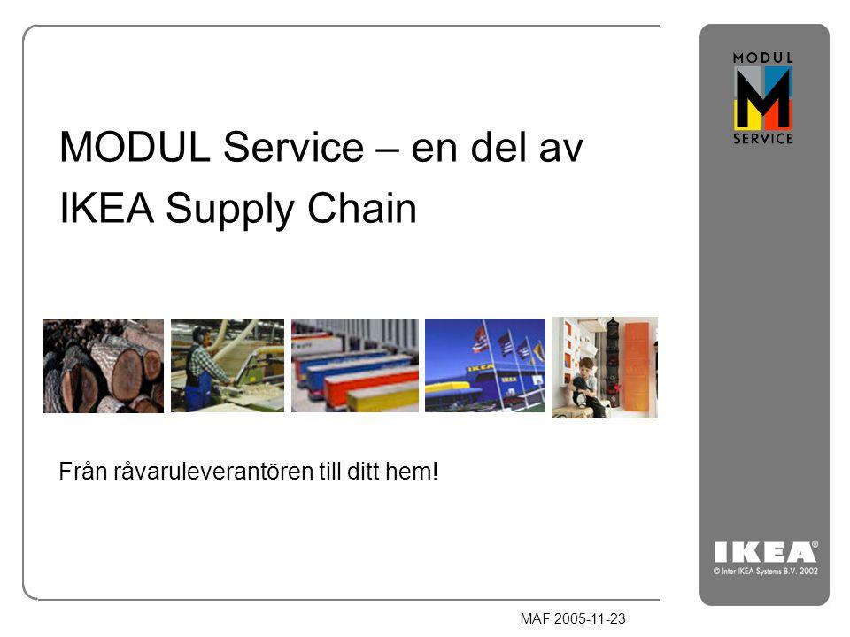 MAF 2005-11-23 MODUL Service är sedan 2002 strategiskt ansvarig för komponenter inom IKEA, och som genom att: standardisera och utveckla möbelkomponenter och koncept samla inköpsvolymer ska kunna sänka priser erbjuda flexibla och säkra leveranser Material- & Produktområden: Trä, Metall, Plast, Läder, Glas, Papper, Folier, Textil Lådor, Belysning, Madrasser, Kontorsstolar, Beslag, Förpackningar.