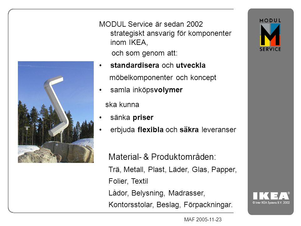 MAF 2005-11-23 MODUL Service är sedan 2002 strategiskt ansvarig för komponenter inom IKEA, och som genom att: standardisera och utveckla möbelkomponen