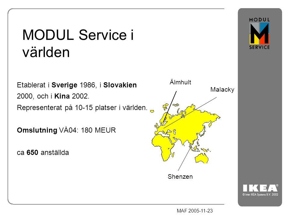MAF 2005-11-23 MODUL Service i världen Etablerat i Sverige 1986, i Slovakien 2000, och i Kina 2002. Representerat på 10-15 platser i världen. Omslutni