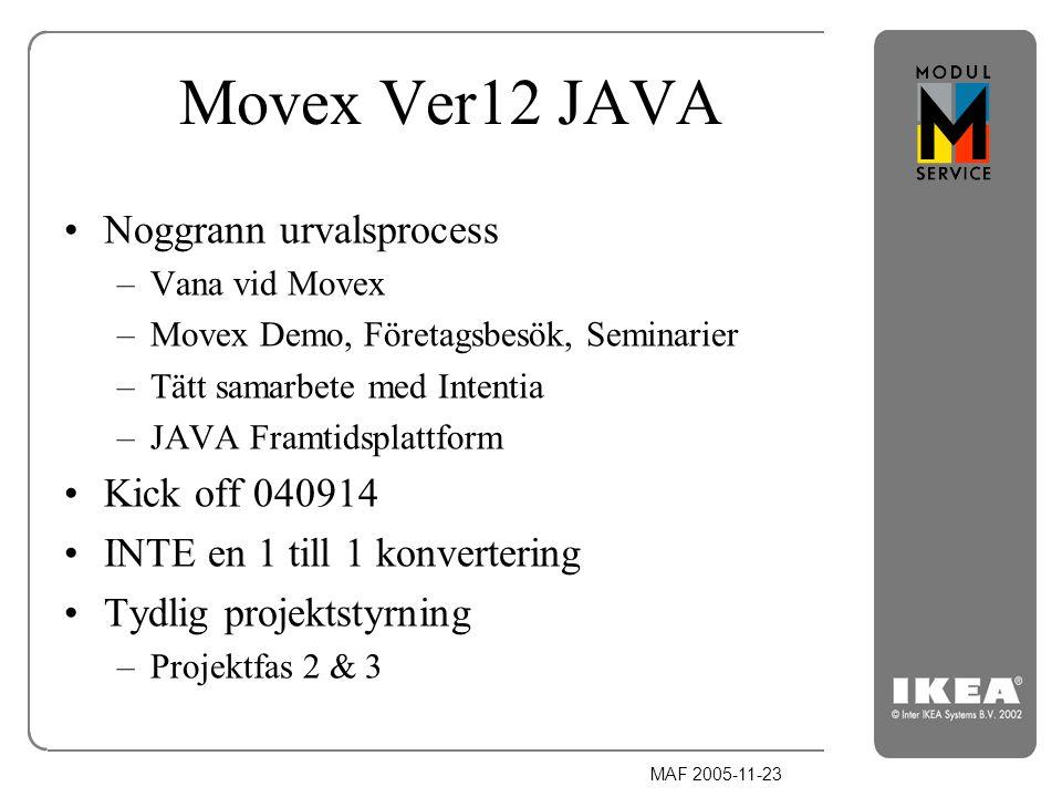 MAF 2005-11-23 Movex Ver12 JAVA Noggrann urvalsprocess –Vana vid Movex –Movex Demo, Företagsbesök, Seminarier –Tätt samarbete med Intentia –JAVA Framt