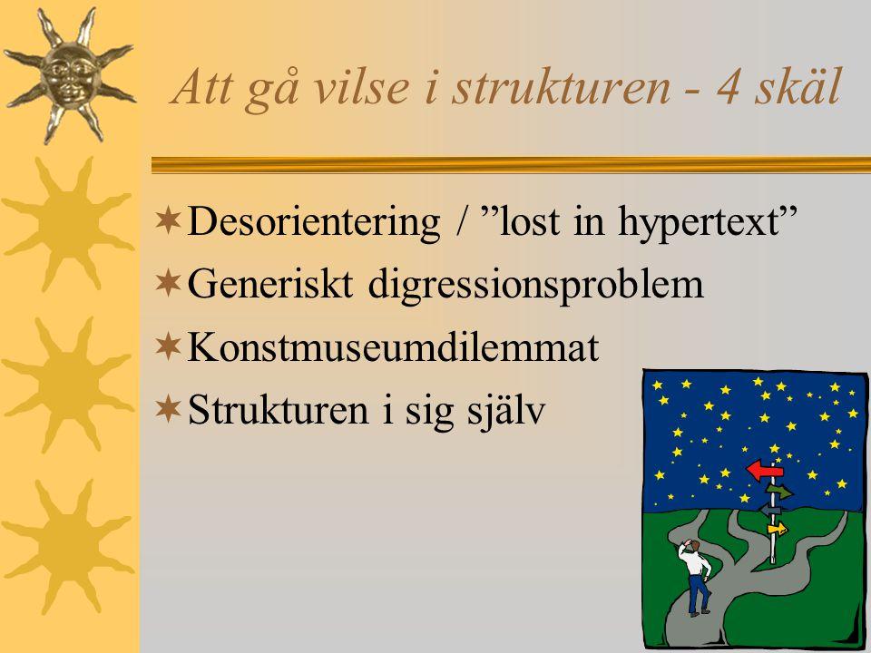 11 Att gå vilse i strukturen - 4 skäl  Desorientering / lost in hypertext  Generiskt digressionsproblem  Konstmuseumdilemmat  Strukturen i sig själv