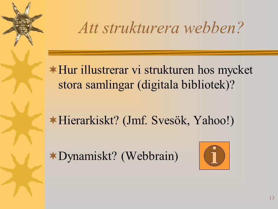 13 Att strukturera webben?  Hur illustrerar vi strukturen hos mycket stora samlingar (digitala bibliotek)?  Hierarkiskt? (Jmf. Svesök, Yahoo!)  Dyn
