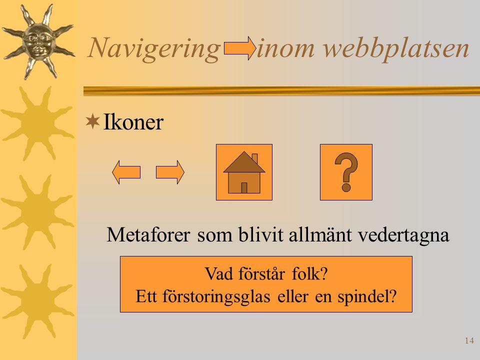 14 Navigering inom webbplatsen  Ikoner Metaforer som blivit allmänt vedertagna Vad förstår folk? Ett förstoringsglas eller en spindel?