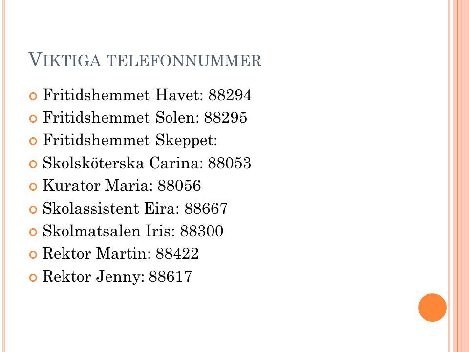 V IKTIGA TELEFONNUMMER Fritidshemmet Havet: 88294 Fritidshemmet Solen: 88295 Fritidshemmet Skeppet: Skolsköterska Carina: 88053 Kurator Maria: 88056 S