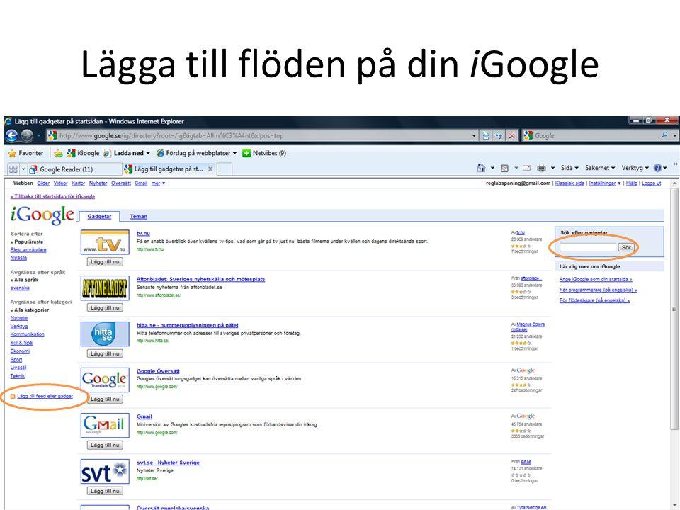 Lägga till flöden på din iGoogle