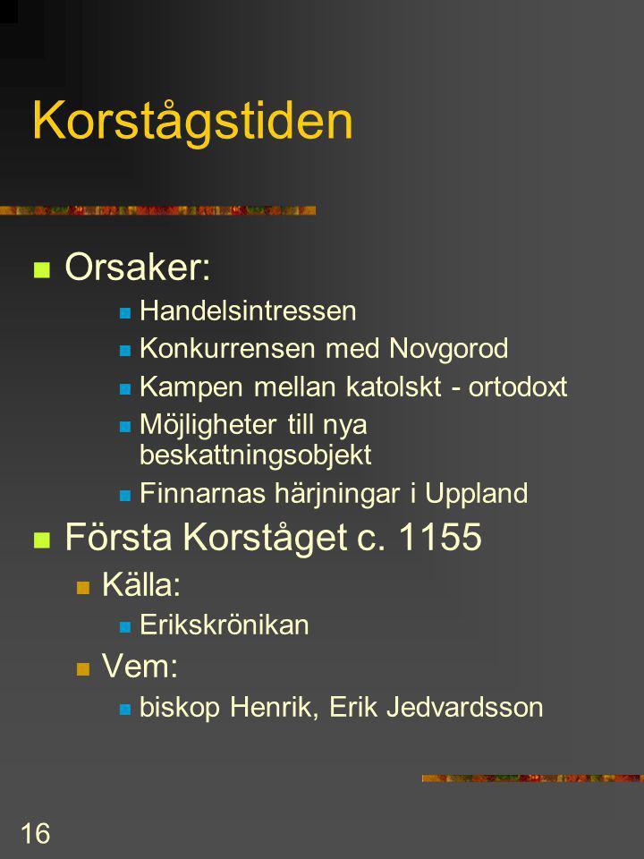 15 Östersjöområdet på 1100-talet Typiska drag: tyska Hansan expanderade i Östersjön och Finska viken Novgorod konkurrerade om marknaden i Finland Konf