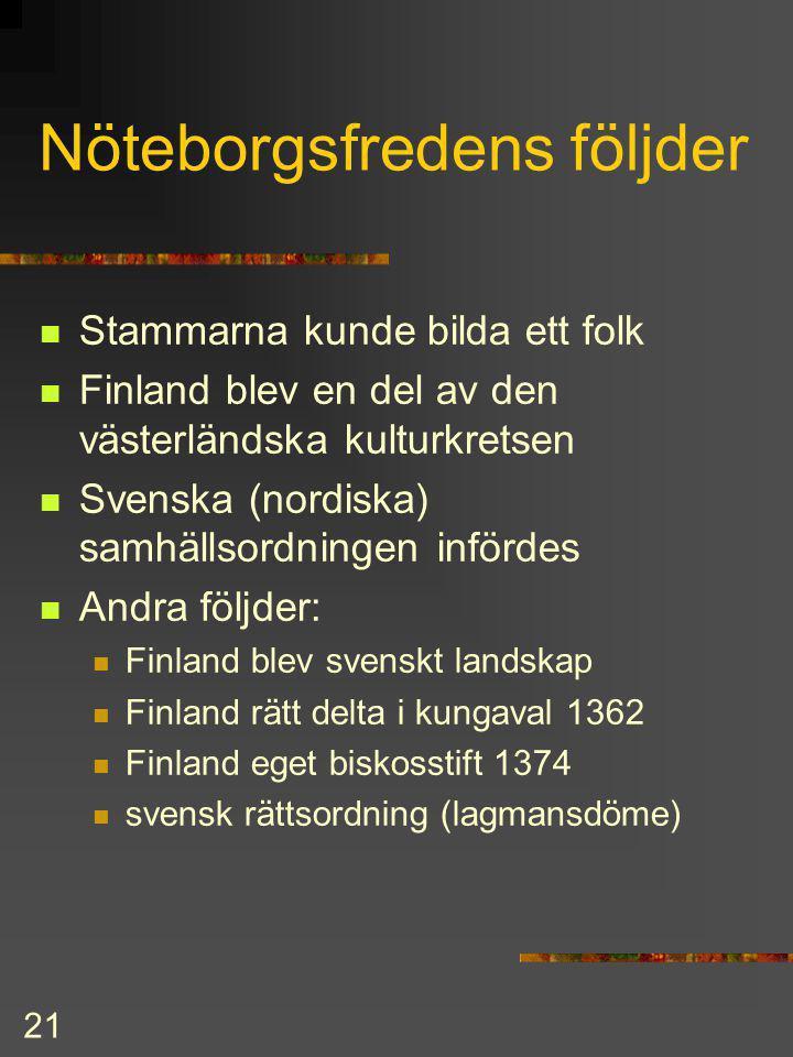 20 Nöteborgsfreden 1323 Första freden mellan Sverige och Novgorod (Ryssland) Gräns: Systerbäck - Vuoksens mellersta lopp - Nyslott - Helsinge hav Hels