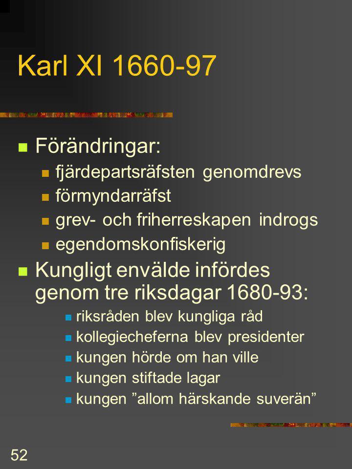51 Karl X Skåne, Halland, Blekinge, Bohuslän, Trondheims län, Bornholm vid Karls död övertog förmyndare styrelsen politik fjärdepartsräfsten saboterad