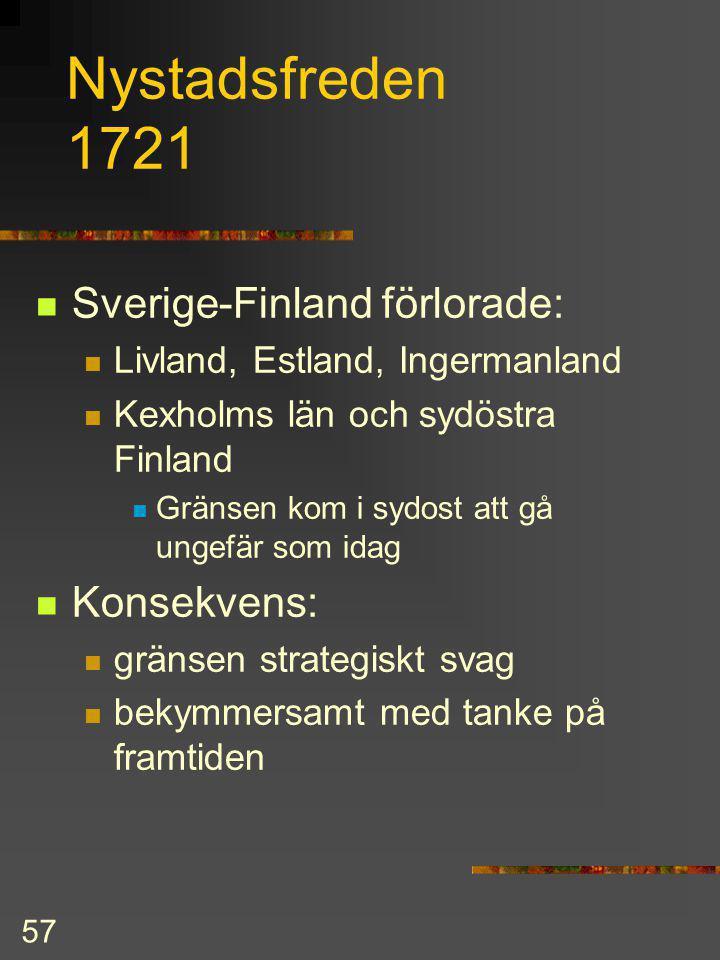 56 Karl XII forts. fem års vistelse i Turkiet ledde inte till något Stora ofreden 1714-21 Ryssland occuperade och ödelade stora delar av Finland Karl