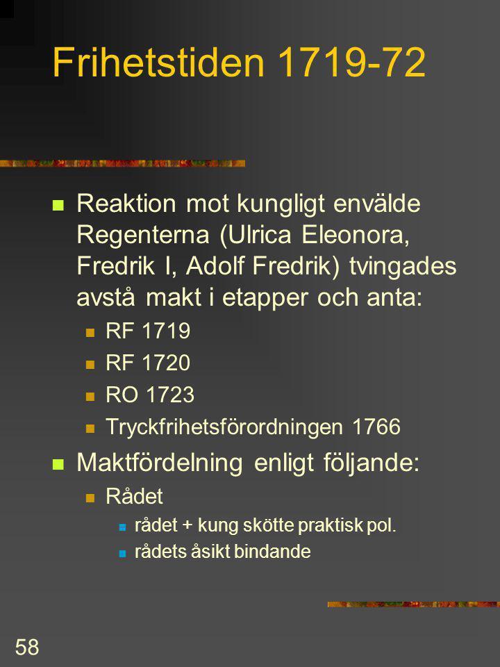 57 Nystadsfreden 1721 Sverige-Finland förlorade: Livland, Estland, Ingermanland Kexholms län och sydöstra Finland Gränsen kom i sydost att gå ungefär