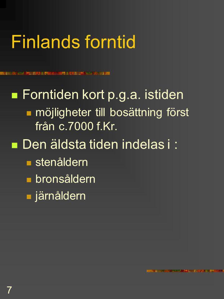 7 Finlands forntid Forntiden kort p.g.a.