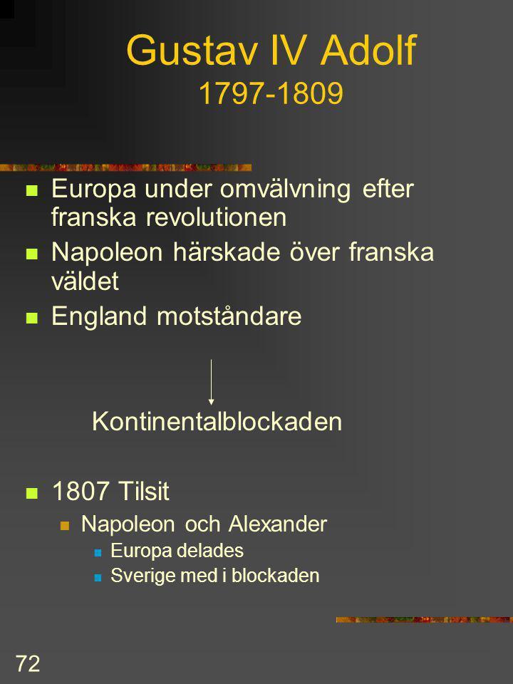 71 Gustav III forts. Fred med Ryssland 1790 Inga gränsförändringar Missnöje bland adeln med Gustavs envälde sammansvärjning och mord 1792 Förmyndarsty