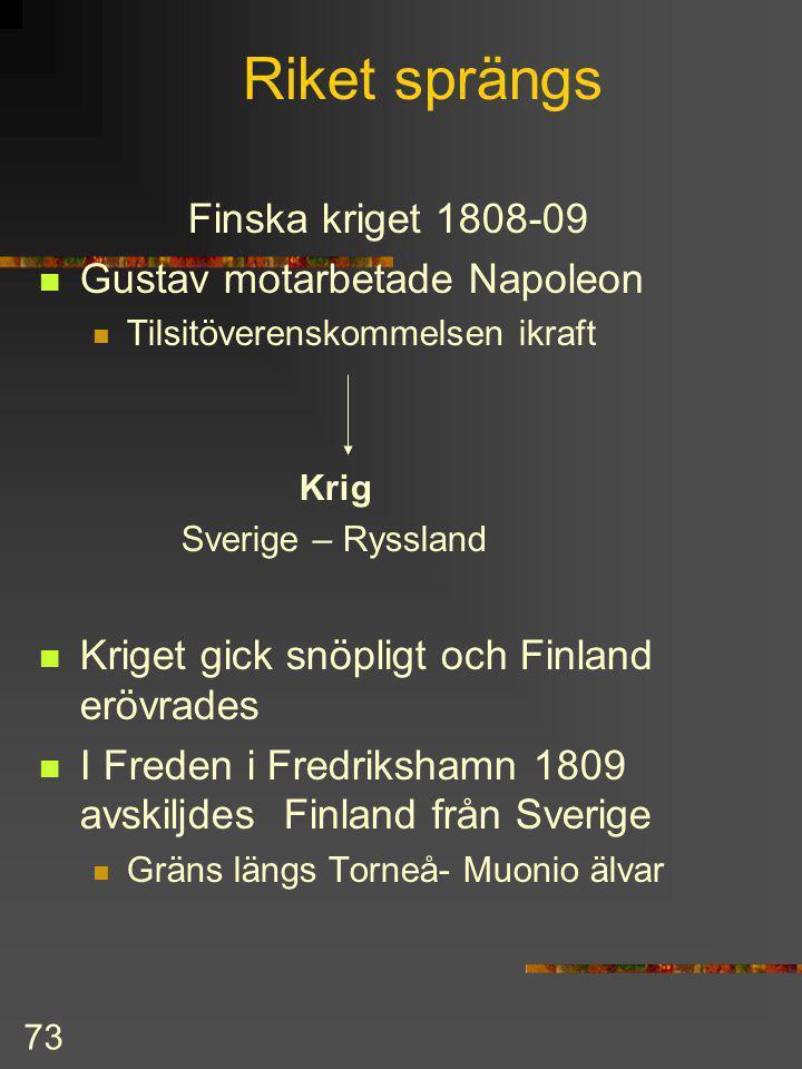 72 Gustav IV Adolf 1797-1809 Europa under omvälvning efter franska revolutionen Napoleon härskade över franska väldet England motståndare Kontinentalb