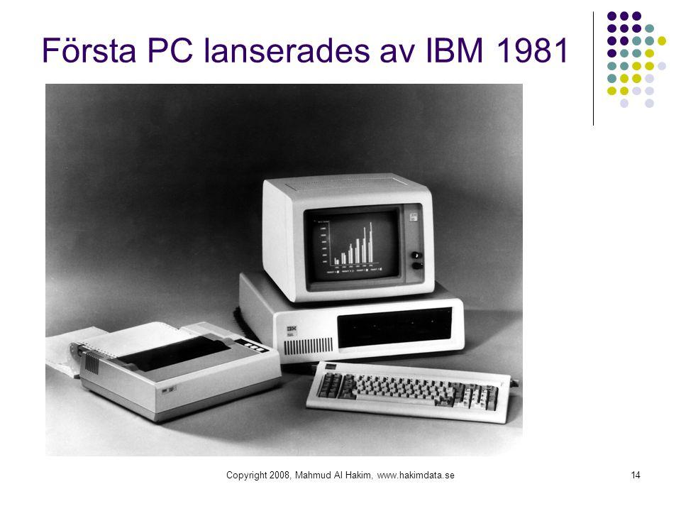 Copyright 2008, Mahmud Al Hakim, www.hakimdata.se14 Första PC lanserades av IBM 1981
