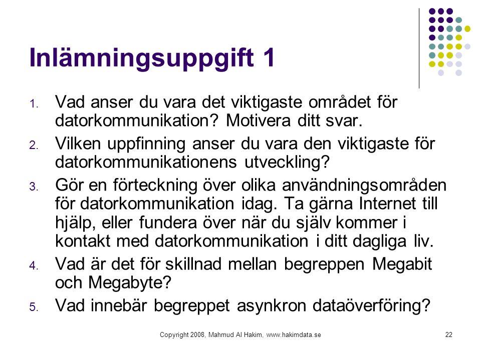 Copyright 2008, Mahmud Al Hakim, www.hakimdata.se22 Inlämningsuppgift 1 1. Vad anser du vara det viktigaste området för datorkommunikation? Motivera d