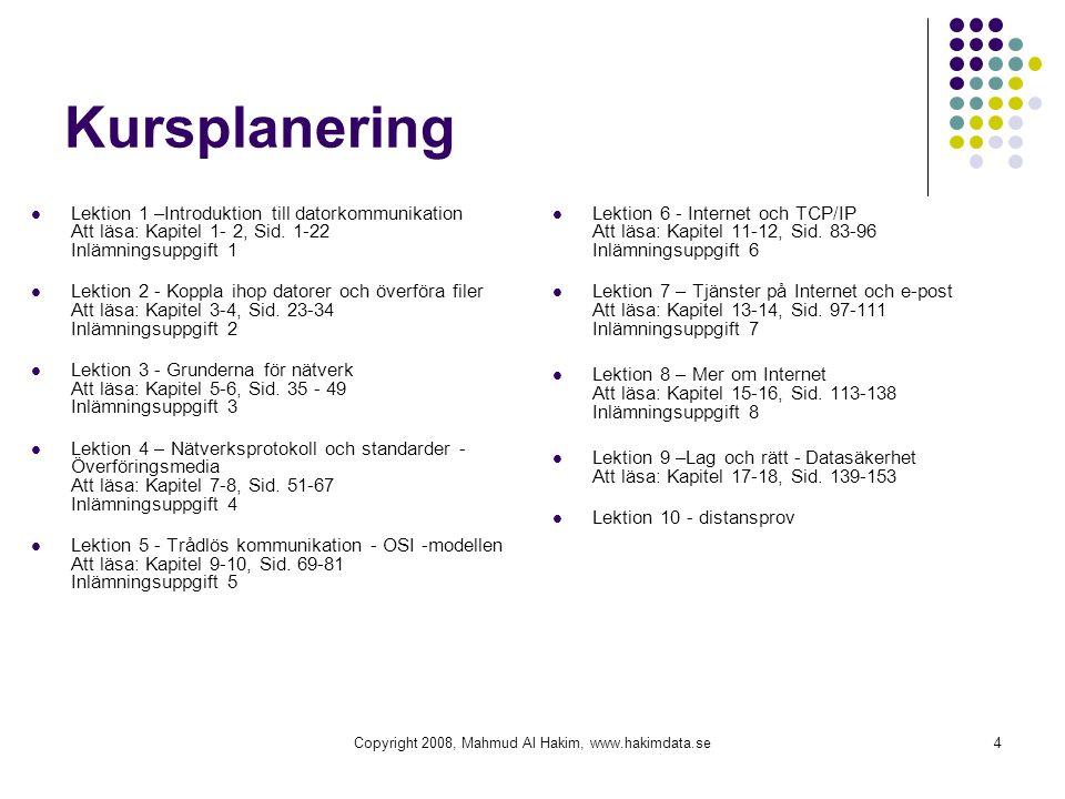Copyright 2008, Mahmud Al Hakim, www.hakimdata.se4 Kursplanering Lektion 1 –Introduktion till datorkommunikation Att läsa: Kapitel 1- 2, Sid. 1-22 Inl
