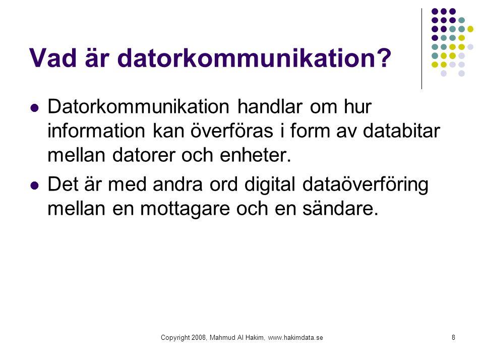 Copyright 2008, Mahmud Al Hakim, www.hakimdata.se8 Vad är datorkommunikation? Datorkommunikation handlar om hur information kan överföras i form av da