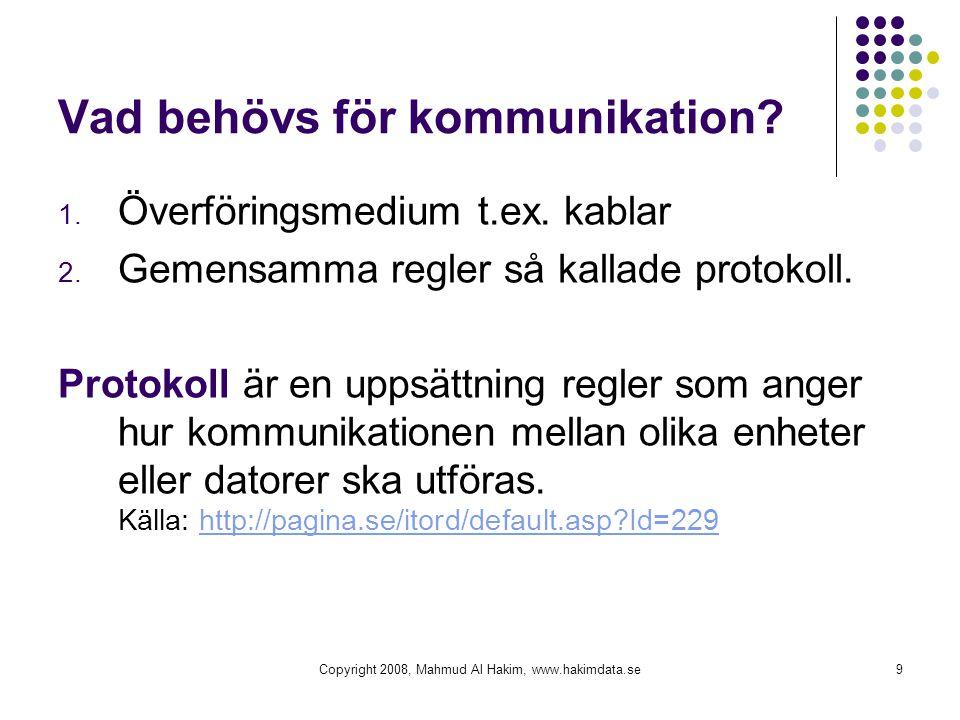 Copyright 2008, Mahmud Al Hakim, www.hakimdata.se9 Vad behövs för kommunikation? 1. Överföringsmedium t.ex. kablar 2. Gemensamma regler så kallade pro