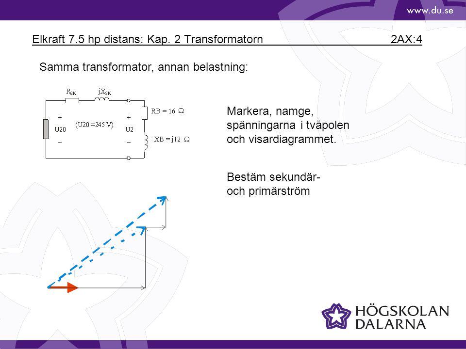 Elkraft 7.5 hp distans: Kap. 2 Transformatorn 2AX:4 Samma transformator, annan belastning: Markera, namge, spänningarna i tvåpolen och visardiagrammet