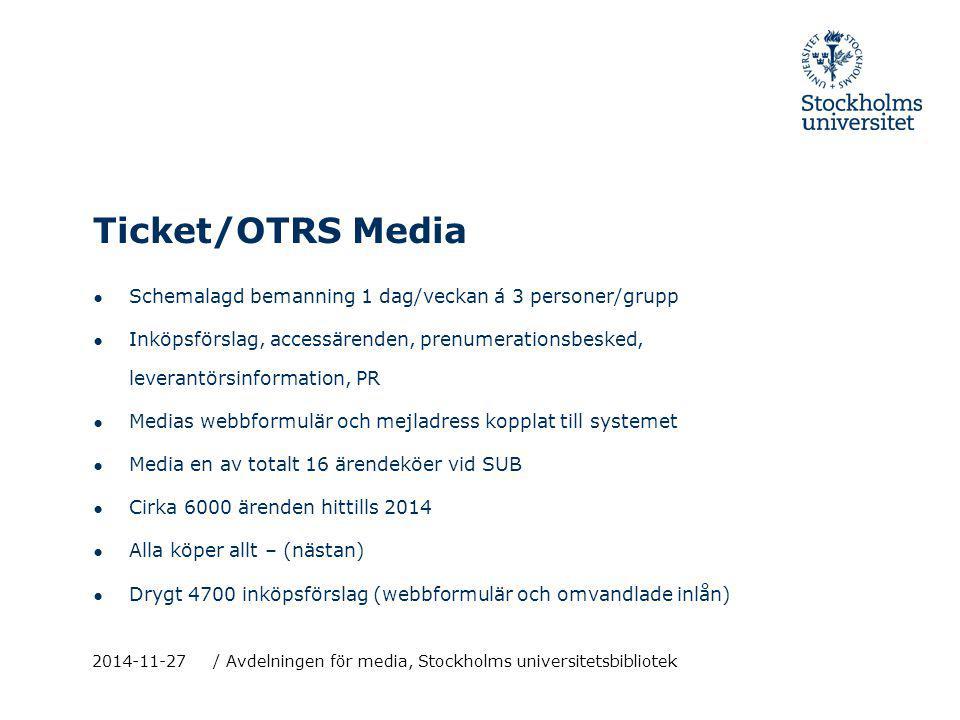 Ticket/OTRS Media ● Schemalagd bemanning 1 dag/veckan á 3 personer/grupp ● Inköpsförslag, accessärenden, prenumerationsbesked, leverantörsinformation,