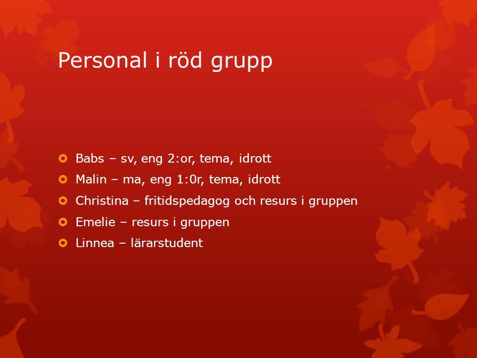 Personal i röd grupp  Babs – sv, eng 2:or, tema, idrott  Malin – ma, eng 1:0r, tema, idrott  Christina – fritidspedagog och resurs i gruppen  Emel